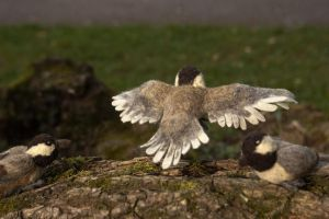 Needle-felted flying Chickadee by Maresy