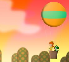 Daisy and Yoshi in Hot air balloon by ZeFrenchM