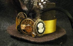 Mini Top Hat Steampunk Cameo by demimondeart