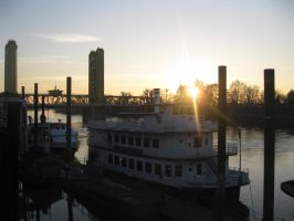 Old Sacramento at Sunset by crazfool