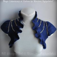 Dark Blue Bolero, Shrug Bridal Felted, Rows Rhine by TianaChe