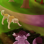 Point Commission :: Sniffing Dog, Hidden Cat by TwistedZepher