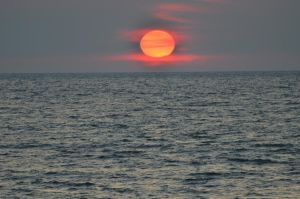 Sunset over lake Michigan by natureandthings