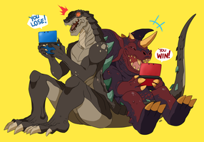 Commission: Zilla.Jr and Baragon by seiryuuden