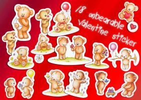 18 'unbearable' Valentine Stickers by RYDEEN-05-2