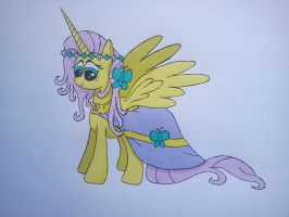 princess fluttershy (colored) by beginerbrony