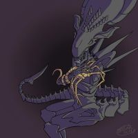 Xenomorph Queen  and her spawn by Illenora