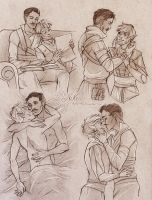 Commission 140 - Dorian/Fael sketchpage by NikeMV