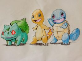 Bulbasaur, Charmander and Squirtle by C-Nzenwa