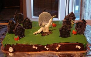 Zombie Graveyard Cake by silentorchid