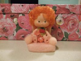needle felted chair and  tiny bunny, pocket pal by imaginaryfriends2012