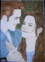 Edward and Bella Cullen Breaking Dawn Fan Art by elenouska15