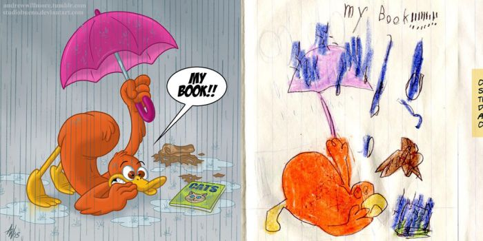 Duck's Book! (Childhood Re-Draw) by StudioBueno