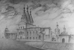 Ivanovsky Convent.  Kazan, Russia. Drawing by MsRiin