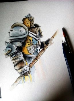Lawbringer - Wip - Ink and watercolors by Musiriam