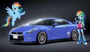 Rainbow Dash Nissan GT-R R35 V-Spec by NSDrift