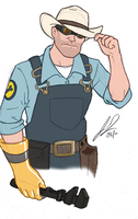 TF2 - Engie in Colour by RavenScarlett