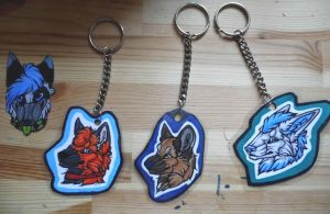 Keyrings, and a headshot. by Daisylasy3