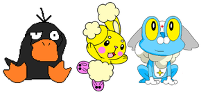 Cuddles Buneary, Daffy Psyduck and Dororo Froakie by PenelopeHamuChan