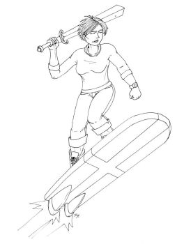 Sword-Wielding Athena on a Rocketboard by bryesque
