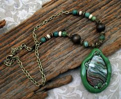 Crazy Lace Agate Necklace by MandarinMoon