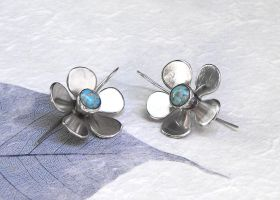 Spring flowers silver earrings with turquoise by YANKA-arts-n-crafts