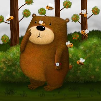 bear and bees by rozalek