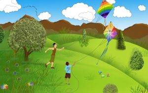 Rainbow Kite Flying by Sumidha
