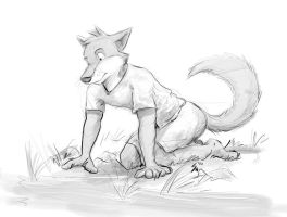 Sketch: At a Pond's Edge by Temiree