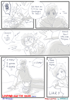 Art Trade -- Lovino and the bear fan comic by aphin123