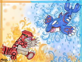 Groudon and Kyogre by 0rcinus