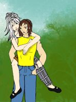 Ellie and Remy Piggyback by mystangelwingsstock