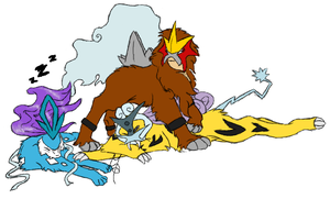 Entei, Suicune and Raikou by Toadstool-Tic