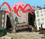 Giant Octopus Destroys everything and everyone by GiviDvali
