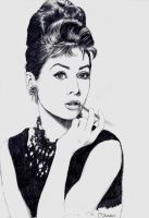 Audrey Hepburn Drawing by Whyallthesmiles
