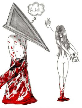 Alma Vs. Pyramid Head by aubzilla