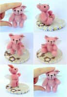 Fly me to the moon. Pink butterfly mini teddy bear by Sakotra