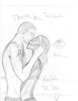 Tali and Shepard: The Mask Kiss by QuarianGypsy