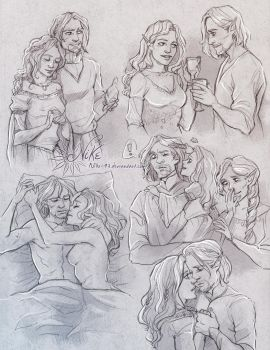 Commission 135 - Cesare/Chrisie sketchpage by NikeMV