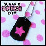 TRIGGER HAPPY Star Mini Dog Tag PUNK Rock Pink by SugarAndSpiceDIY