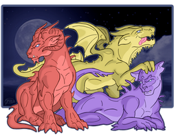 Gargbeasts: Aries, Arthur and Minerva by evollusive
