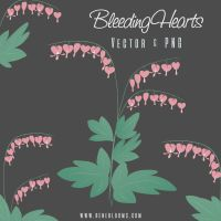 Bleeding Hearts Flowers Vector by SunnyFunLane