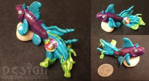 Beautiful Betta HandMade Polymer Clay Glitter Fish by Graphix-Goddess