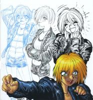 Leather-jacket GIRL progresses from rough to color by AdamWarren
