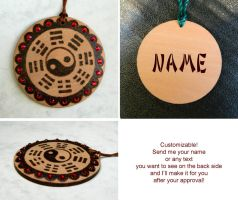 YIN YANG pyrography feng shui charm - customizable by YANKA-arts-n-crafts