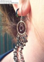 Grey Beaded Circle Earrings by ulfchild