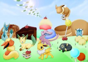 .Eevees in CandyLand. by Exhaltorio