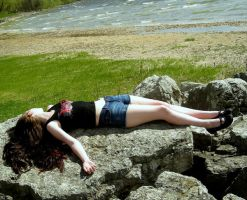 Lying on a rock by 3corpses-in-A-casket