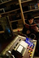 Tardis Console, Reading 'The Time Machine' by flamingcog