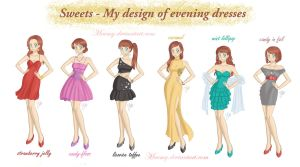 My design of evening dresses 1 by Maemy